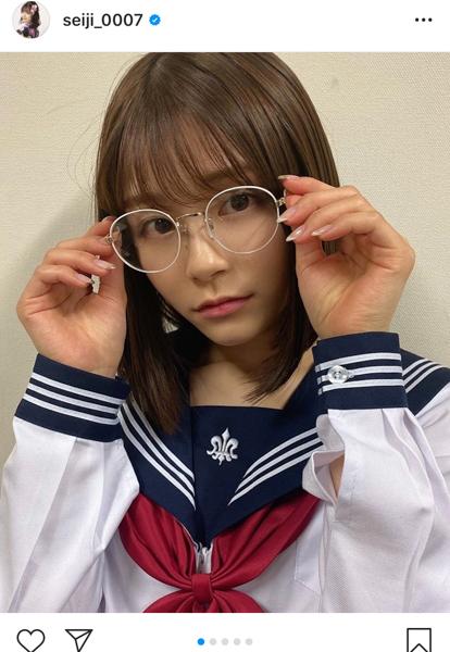 NGT48 清司麗菜、優等生&目力強いセーラー服ショットを公開!「インパクトと可愛いさがある」