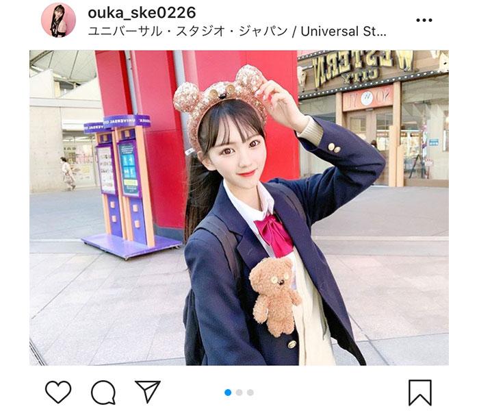 """SKE48 末永桜花、くまのティムカチューシャで""""制服ユニバ""""を満喫!"""