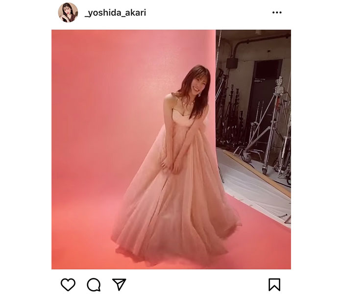 NMB48 吉田朱里、卒業シングルで披露したピンクドレス撮影動画を公開!「アカリン超キレイ」「可愛いが溢れてる」