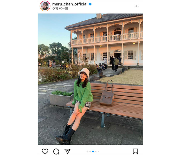 HKT48 田島芽瑠、夕陽に輝く美脚ポートレートに「グラバー園の女神」と絶賛の声!!