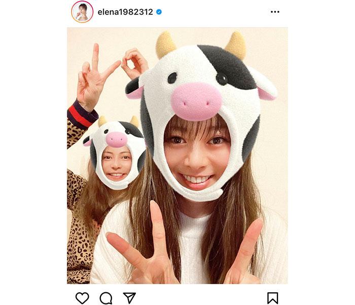 えれな&香里奈、新年早々の牛2ショットに歓喜の声!「最強姉妹」
