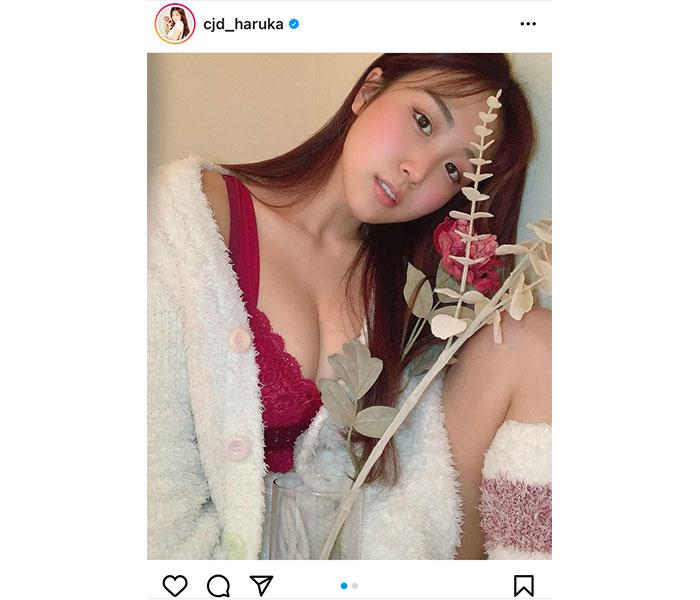 サイバージャパンダンサーズ・HARUKA、一輪の花と部屋着で魅せるおうちランジェリー「とてもお似合いです」「癒されます」