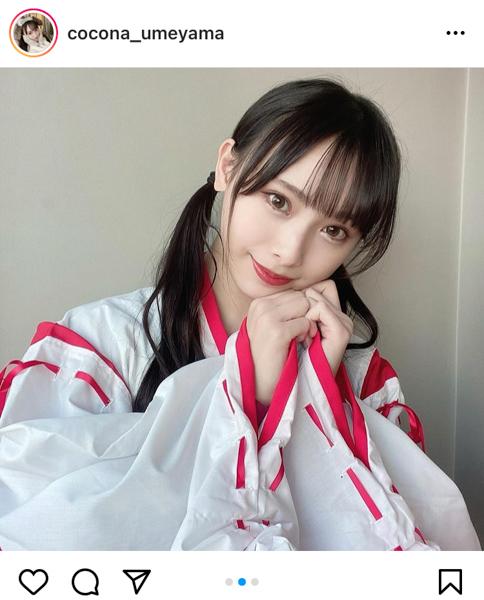 NMB48 梅山恋和、運気爆上げの巫女コスプレが超絶かわいい!
