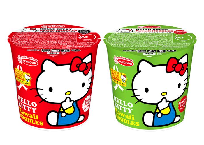ハローキティ kawaiiヌードル しょうゆ味/とんこつ味 新発売