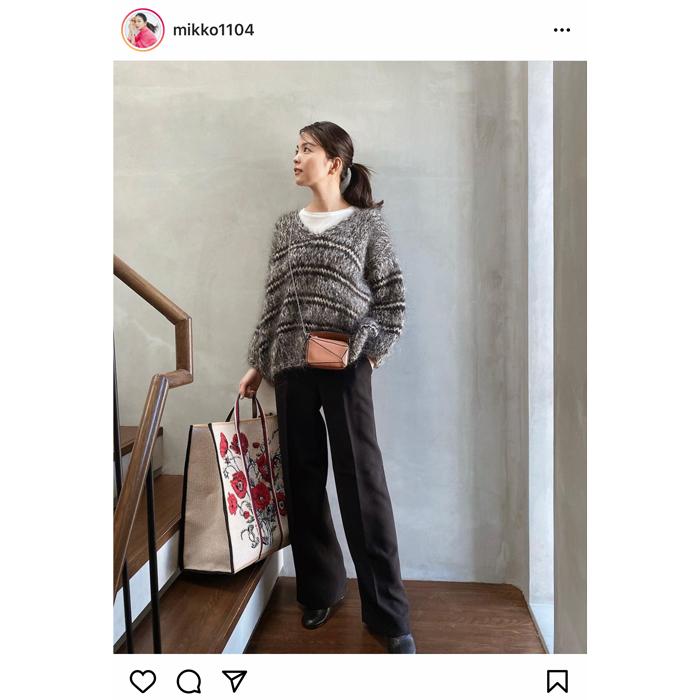 矢野未希子がVERYカバー撮影での私服コーデを公開!「花柄のカバン可愛いですね」