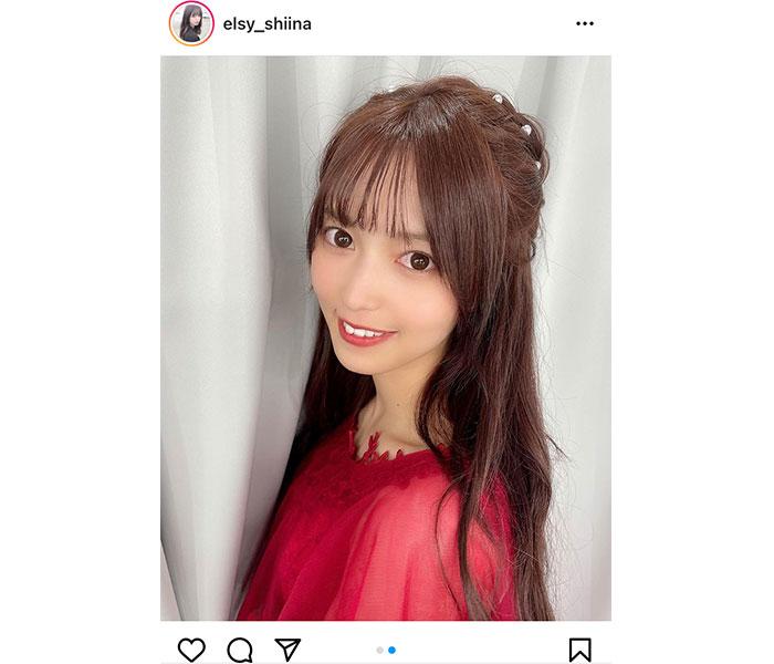 elsy 新井椎夏、イメージカラーの赤ドレスで放つアイドルオーラ!「女神かと思った」