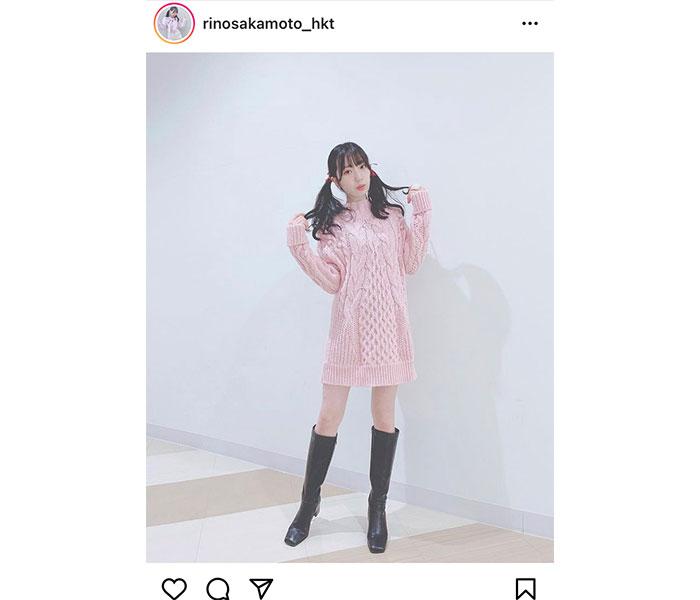 """HKT48 坂本りの、キュートなピンクワンピースで""""最強ツインテール""""!"""