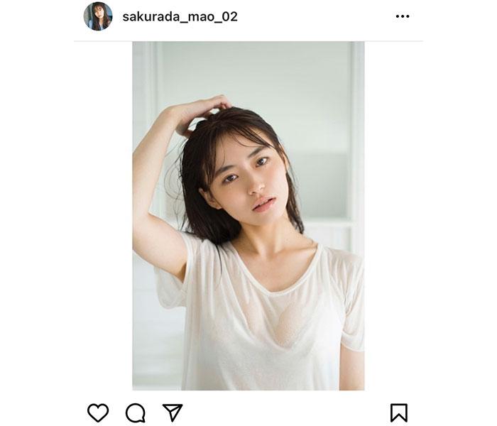 桜田茉央、水に濡れた透き通る素肌で魅了するポートレート!