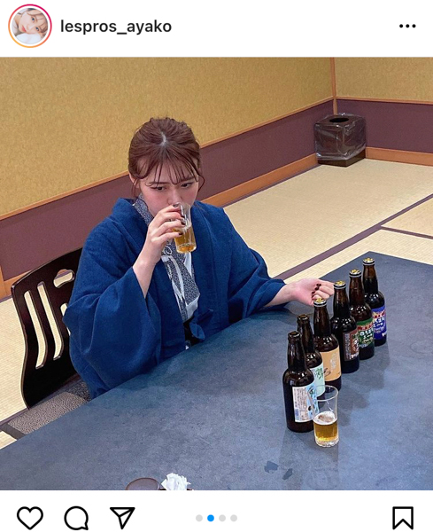 井口綾子、浴衣姿でビールにほろ酔い!「一緒に呑みたい」の声ぞくぞく