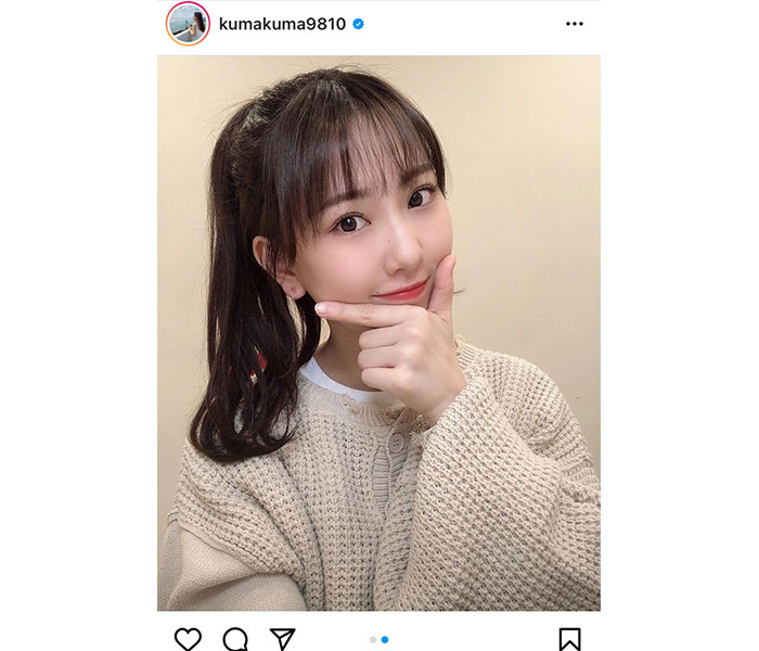 SKE48 熊崎晴香、春コーデと見せるポニーテールに歓喜の声「大好きです!かわいい」