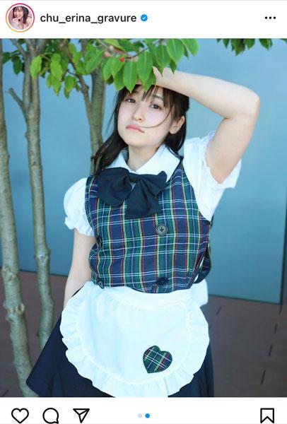 中崎絵梨奈、清涼感あふれるメイド衣装に歓喜の声!「専属にしたい」