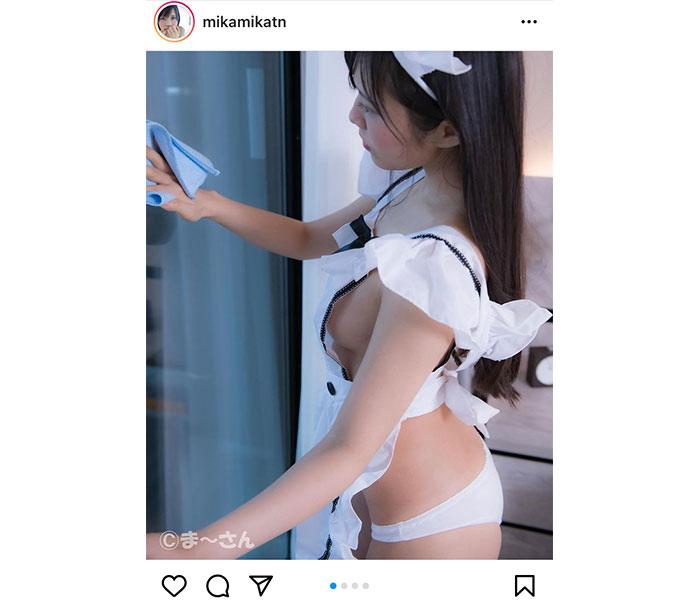 田中みか、メイド衣装で横乳チラ見せ「本当に素敵すぎます」