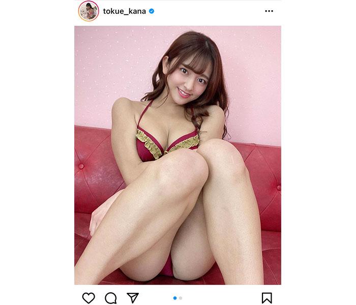 徳江かな、恥ずかしがる表情で美脚を披露!「めっちゃ美しいですね」