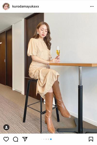 黒田真友香、ロングブーツの着まわしコーデを披露!「何に合わせてもバッチリハマります」