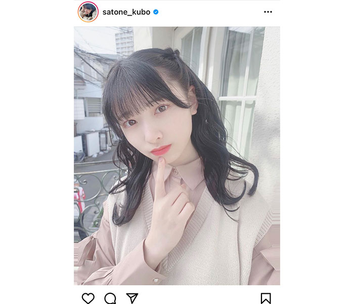 AKB48 久保怜音、アイドル全開な黒髪ハーフツインに反響ぞくぞく!