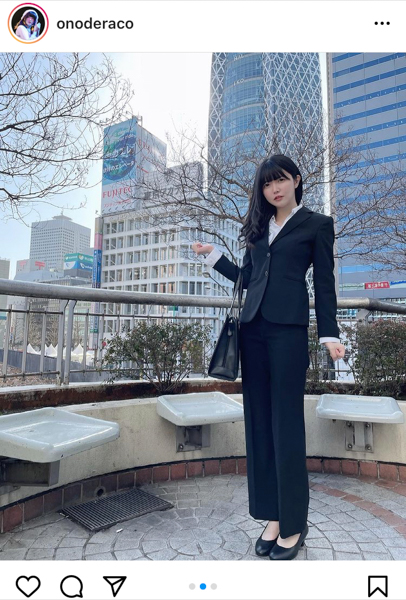 真っ白なキャンバス 小野寺梓、珍しいスーツスタイルでポートレート!「スタイル良いし似合ってる」