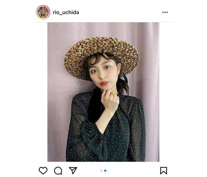内田理央、「気分はルフィ」麦わら帽子を被ったコーデを紹介!
