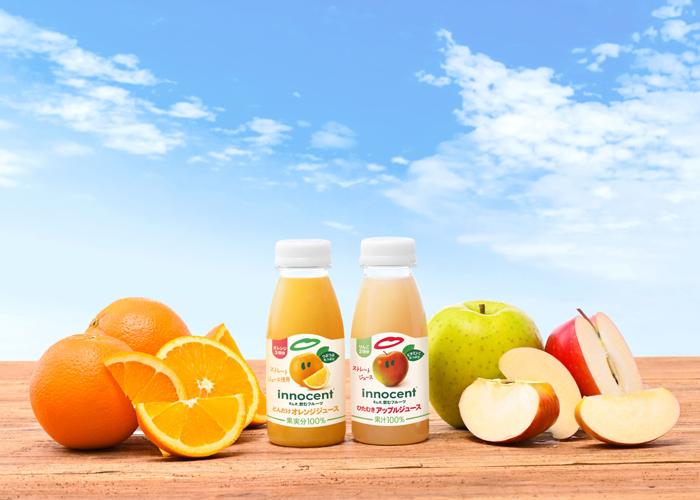 """イノセント""""まんま、飲むフルーツ""""に初のストレートジュースが登場。『どんだけオレンジジュース』『ひたむきアップルジュース』新発売"""