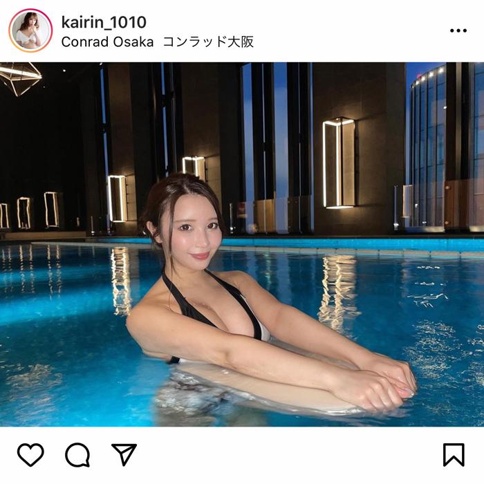 海里、高級ホテルのプールでセクシービキニ姿を披露!「style抜群ですね」