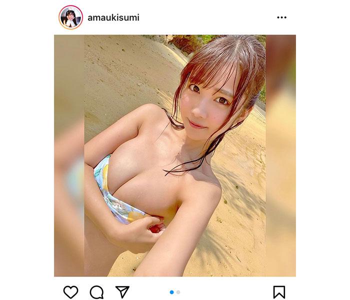 「#2i2(ニーニ)」天羽希純、微笑みに焦がれるビキニショット公開!「一緒に日焼けしよ?」