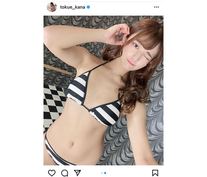徳江かな、白黒水着で魅せるくびれとヘルシー美ボディ!