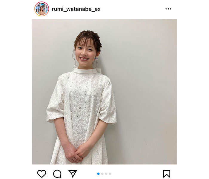 渡辺瑠海アナウンサー、大きなリボンが可愛いワンピース衣装を披露