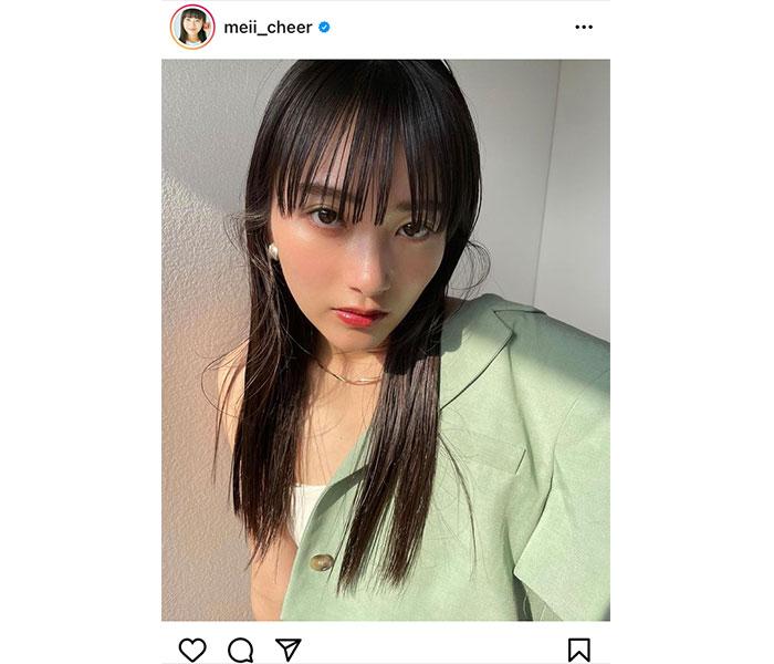 福田愛依、シースルーの前髪に見惚れる黒髪ショット