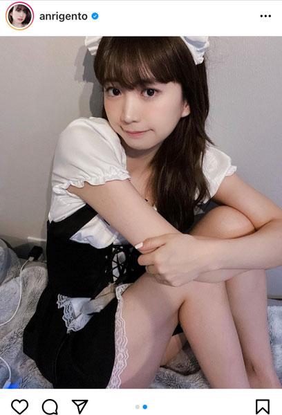 源藤アンリ、メイド服でちょこんと体育座り「天使だ!可愛すぎる!」