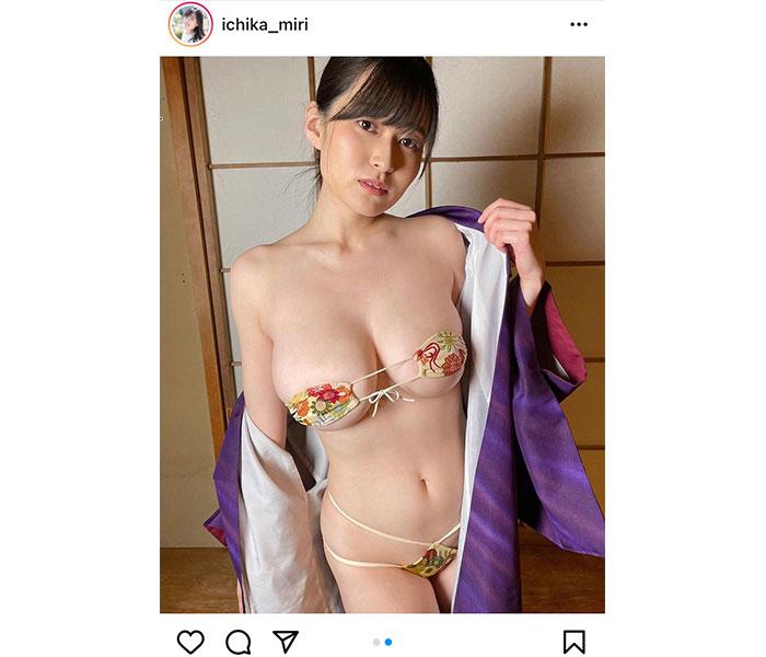 未梨一花、浴衣を脱いで爆乳見せつけ!最新イメージからオフショット公開