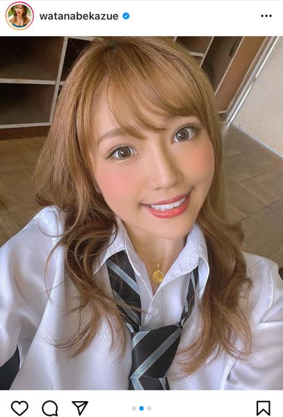 サイバージャパンダンサーズ・渡辺加和(かずへ〜)が制服オフショットを公開!「制服もいける」「編入したい」の声も