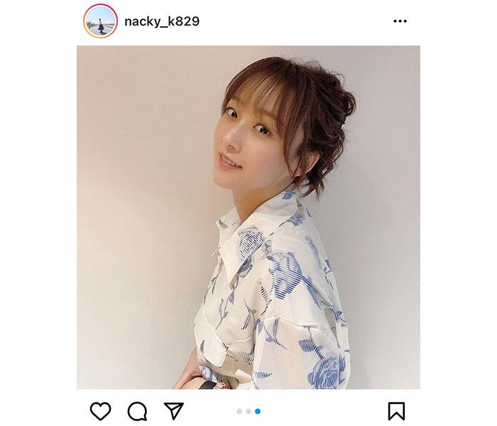 SKE48 鎌田菜月、お団子ヘアで魅せる夏コーデに反響「涼しげで良い感じ」