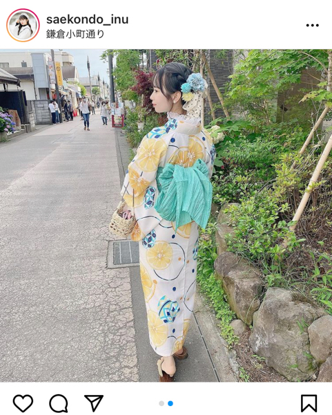 #ババババンビ 近藤沙瑛子、レモン柄の爽やか浴衣ショットにファン大絶賛「このままお祭りに行きたい」