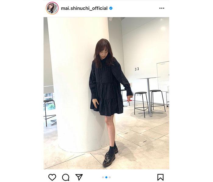 乃木坂46 新内眞衣、大人カワイイ黒一色のモノトーンコーデを披露