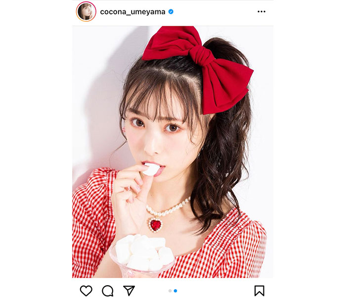 NMB48 梅山恋和、赤いリボンに惹かれるポートレートに歓喜の声「ココナしか勝たん」