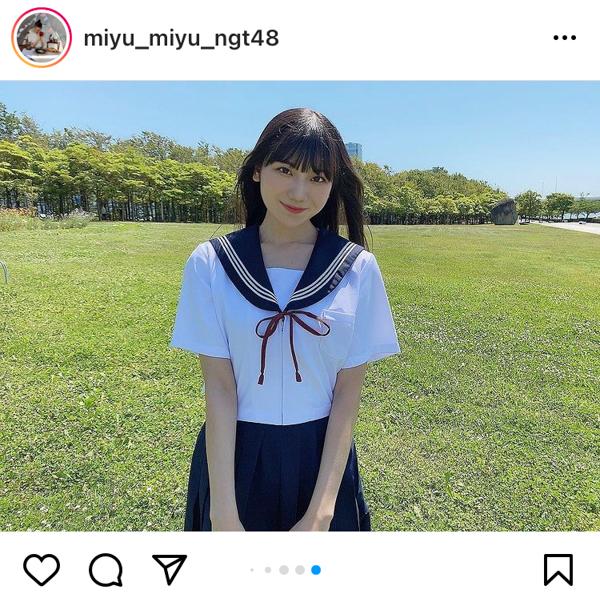 NGT48 藤崎未夢、セーラー服で見つめる青春ポートレート!