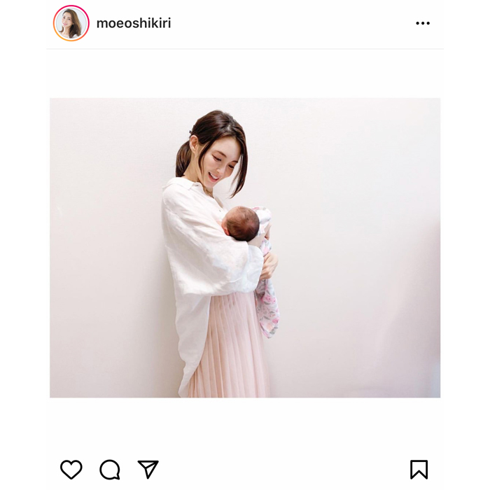 押切もえ、出産報告で赤ちゃん抱いた写真を公開!「幸せオーラ溢れております」