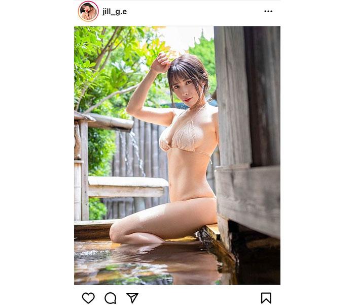JILL、温泉で魅せる美プロポーションに反響ぞくぞく