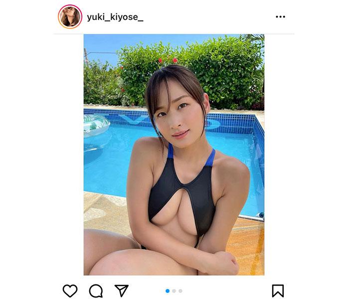 清瀬汐希、胸元ざっくりな競泳水着からこぼれ落ちる美バスト