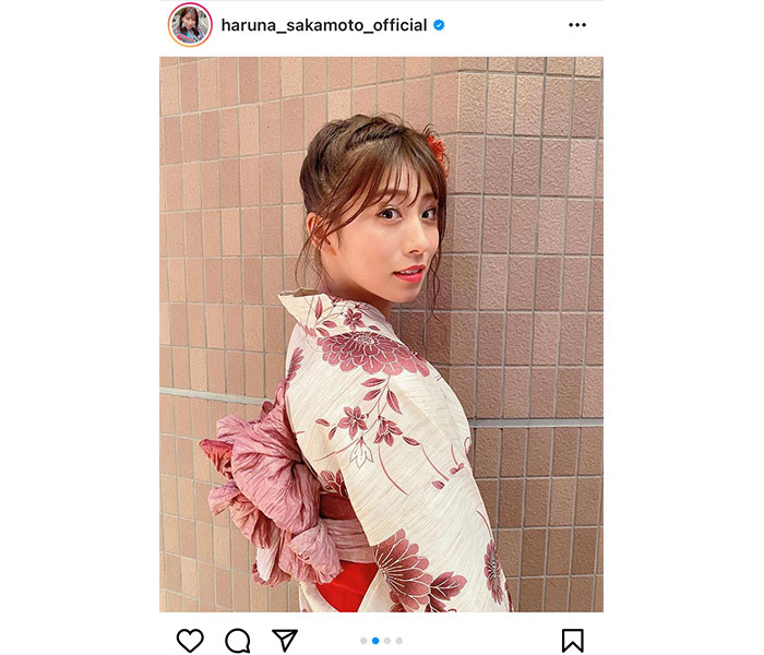 TEAM SHACHI 坂本遥奈、浴衣姿の振り向き美人ショットを披露「浴衣ハルちゃんが夏を連れてきた~」
