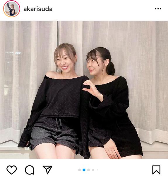 SKE48 須田亜香里が浅井裕華とお揃いレッスン着で2ショット