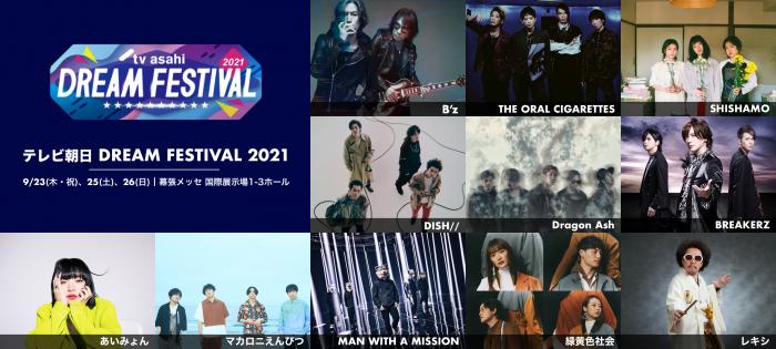 B'z、MAN WITH A MISSION、BREAKERZの出演が明らかに!『テレビ朝日ドリームフェスティバル 2021』開催決定