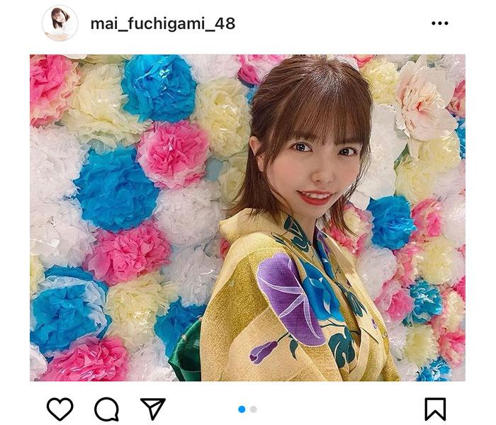 HKT48 渕上舞、浴衣姿で暑中見舞い「暑さに負けずがんばろう」