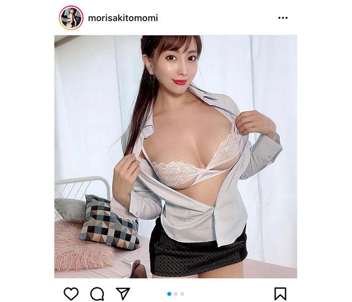 森咲智美、美バストあらわなOLセクシーショット!