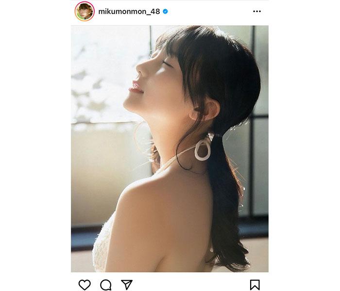 HKT48 田中美久、横顔美麗なポートレートに釘付け「神々しい」