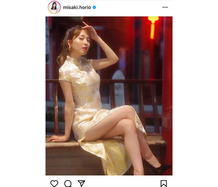 堀尾実咲、美脚クロスしたセクシーチャイナドレス姿にメロメロ