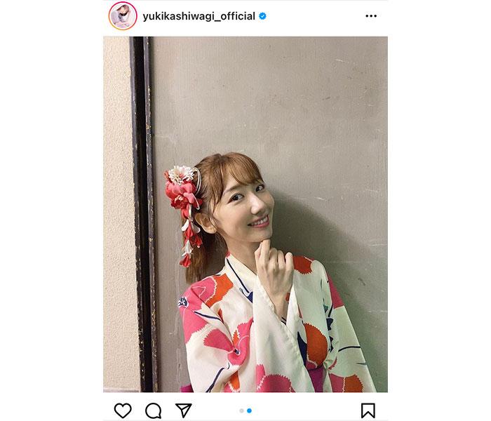 AKB48 柏木由紀、野外ライブで披露した浴衣オフショット披露