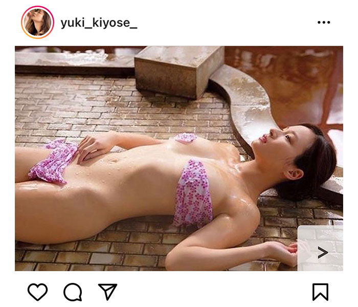 清瀬汐希、タオルのみで隠した大胆濡れ肌ショットで悩殺