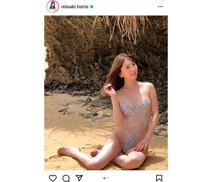 堀尾実咲、裸に見える透け感ハイレグ水着で悩殺