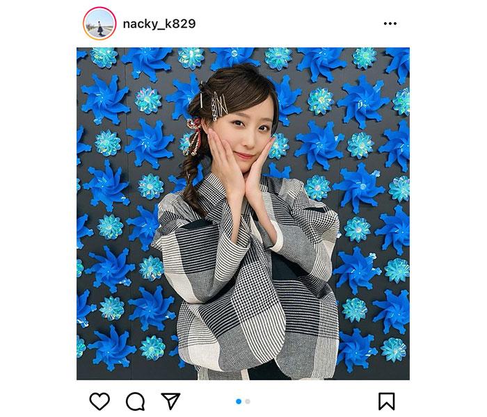 SKE48 鎌田菜月、前髪流しの浴衣姿に癒される「季節遅れの花火しましょう」